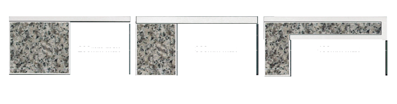 Finishing granite marble engineered stone benchtop for Granite overhang limit